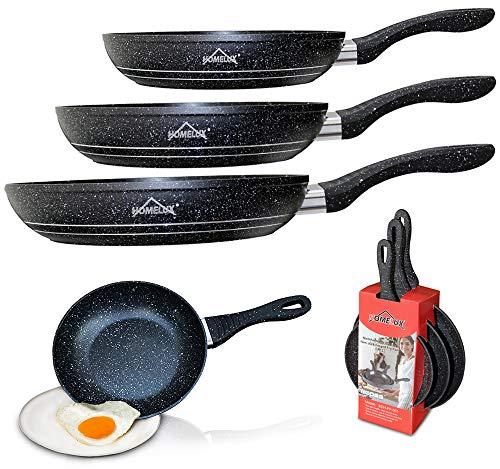Pfannen Set schwarz - 3 Pfannen 28 cm + 24 cm + 20 cm Antihaft Beschichtung Pfanne, Induktion, Gas, Ceranfeld