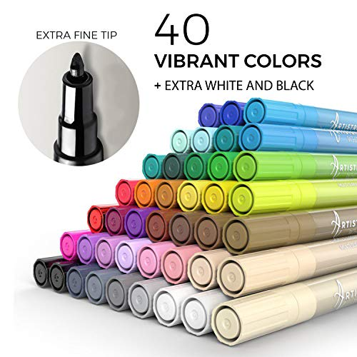 Acrylic Paint Pens - 42 Acrylic Paint Markers - Extra Fine Tip Paint Pens (0.7mm) - Great for Rock Painting, Wood Paint, Ceramic Paint & Glass Paint - 40 Colors + Extra Black & White Paint Marker Set Photo #3