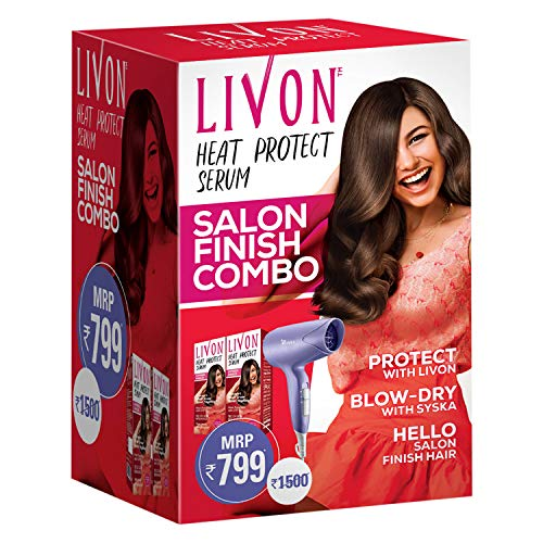 Livon Heat Protect Serum,For Protection Upto 250°C, 2X Less Hair Breakage & SYSKA Hair Dryer, Pack of 2 Serums Each 100 ml