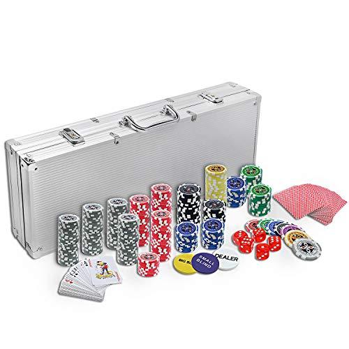 HENGMEI Set de póker Juego de póquer con 500 Chips Láser Aluminio 5 Dados, 2 Barajas de Cartas, 3 Ficha de Crupier, Color Plateado