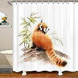 Loussiesd Cortina de ducha con diseño de panda rojo, impermeable, poliéster, estilo vida silvestre, con 12 ganchos, acuarela, color blanco, 72 x 84 pulgadas, lavable a máquina