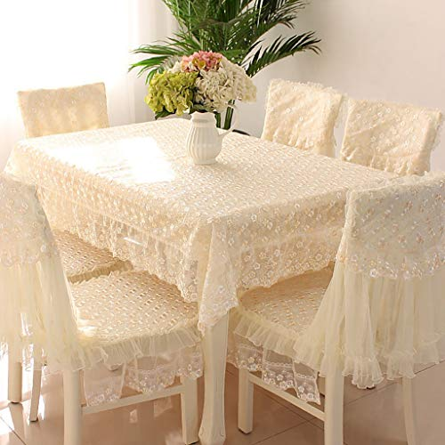 Rectangle/Oblong Dining Tablecloths Country Style Lace Grace Floral Design Chair Back Cover And Chair Cushion Cover Flower Embroidered Lace Rectangular Placemats Set,Pink, Beige, Gray Christmas And