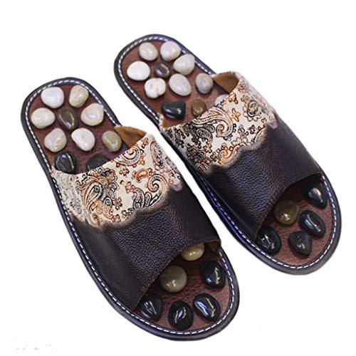 LNNZML - Sandalias para el Cuidado de los pies, para Interiores, con Piedras Naturales, promueven la circulación sanguínea, masajeador de pies, Plástico ABS Engineering, marrón, 37-38.5EU (Cocina)