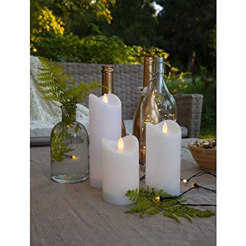 Kamaca Outdoor LED Kerzen im 3er Set batteriebetrieben inkl. Timer Kerze flackernd für Innen und Außen Bereich Outdoor (3er Set Weiss)