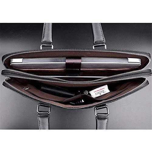 YOGAA Herren Handtasche 13 Zoll Laptoptasche wasserdicht große Aktentasche für die Arbeit,Black