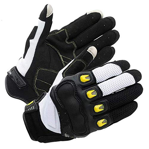 Guantes de Motocicleta con Pantalla táctil para Ciclista de Dedo Completo Guantes de Moto de Malla de Verano - Amarillo, M
