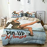 Yoyon Funda nórdica Beige, Pin-up Wings 2 - Silvester, Juego de Cama de Microfibra Impresa de Calida...