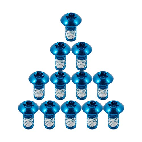 Chooee 12Pcs MTB Tornillos Bicicleta Bici Disco Freno Rotos Pernos Disc Negro M5x10mm Brake Rotor Bolts,Azul