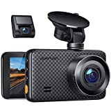 APEMAN 1440P&1080P Dual Dash Cam, 1520P max, Support 128GB, Front and Rear Camera for Cars with 3 Inch IPS Screen, Driving Recorder with IR Sensor Night Vision, Motion Detection, Parking Monitor