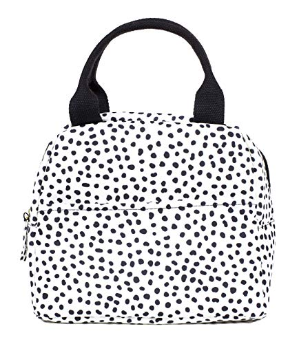 Steel Mill & Co Small Insulated Lunch Bag, Large Capacity Reusable Cooler Bag Tote with Zipper Closure, Pockets, Sturdy Handles, Black Dots