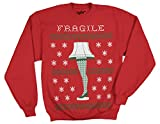 Ripple Junction A Christmas Story Fragile Leg Lamp Faux Sweater Adult Sweatshirt XL Red