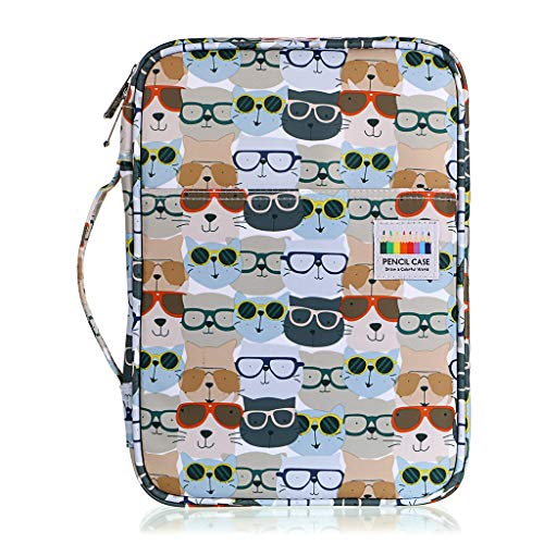BTSKY Portable Colored Pencil Case - Colored Pencil Organizer Holds 166 Pencils or 112 Gel Pens Large Capacity Zippered Pencil Holder Gel pens (Glasses)