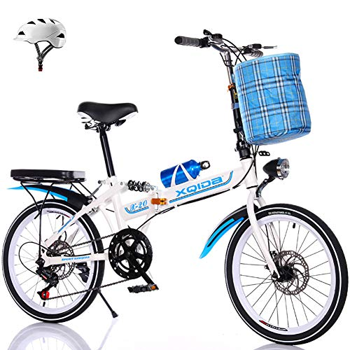 LINGYUN 20-inch Folding Commuter Bike, Portable Mini School Bike for Men's and Women's, with Led Lights and Dual Disc Brakes, Helmet,Blue