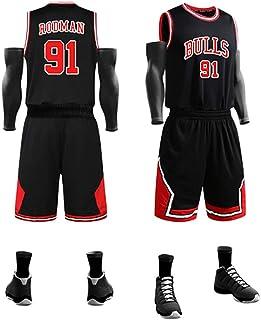 KMNF Basketball Trikot Herren - Dennis Rodman # 91 - Stoff bestickt Swingman Basketball Jersey ärmellos Jersey Anzug