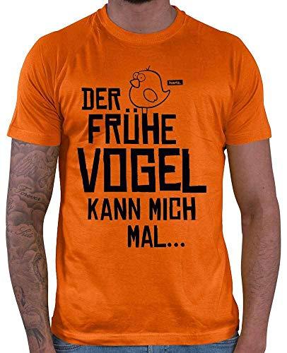 HARIZ Herren T-Shirt Der Frühe Vogel Kann Mich Mal Männer Sprüche Plus Geschenkkarten Orange XXL