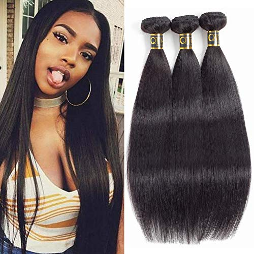 QTHAIR 12A Straight Human Hair Bundles(18 20 22,300g,Natural Black) 100% Unprocessed Human Hair Extensions Indian Straight Virgin Human Hair Bundles