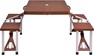 Gymax Picnic Table, Portable Camping Picnic Tables Bench Set with 4 Seats for Outside Backyard Garden Patio Dining Party