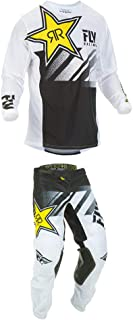 Fly Racing 2019 Kinetic Mesh Rockstar Jersey and Pants Combo White/Black Medium,34
