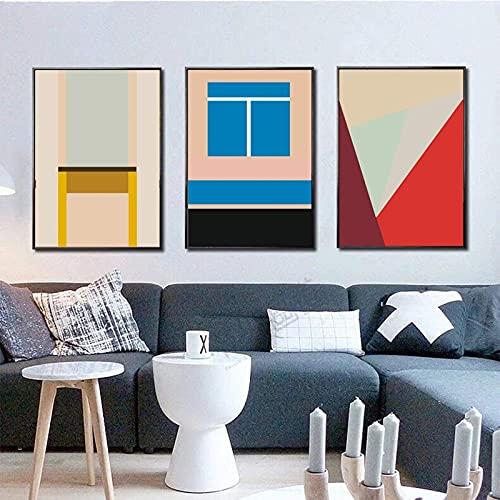 FTFTO Equipo de Vida Pintura en Lienzo Triángulos geométricos Coloridos Carteles Impresiones Arte de la Pared Imágenes Galería Sala de Estar Interior Decoración del hogar 60x80cmx3 Marco Interior