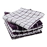 DII Basic Terry Collection Windowpane Dishcloth Set, 12x12, Eggplant 6 Piece