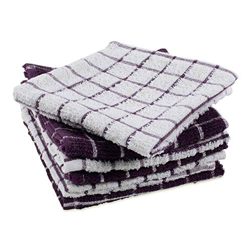 """DII Cotton Terry Windowpane Dish Cloths, 12 x 12"""" Set of 6, Machine Washable and Ultra Absorbent Kitchen Bar Towels-Eggplant"""