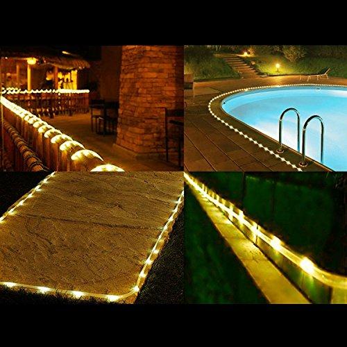 cuzile Manguera LED Solar 7m 50 LED Resistente al Agua IP55 Tiras de LED de Exterior, Sensor de luz, Blanco cálido Decoración para Navidad, Fiestas, Bodas, Patio, Dormitorio, Jardines, Festivales: Amazon.es: Iluminación