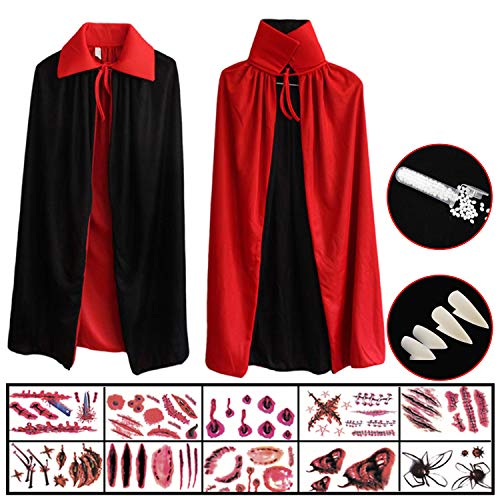 Hook Vampir Kostüm Kinder Umhang Schwarz Rot Teufel Kostüm Mit Tod Kultfaktor Hexe Cape Umhang für Kinder or Damen Halloween Kostüm Mantel Umhang, 10x Temporäre Tattoos, 4X Dentures Props (80cm)
