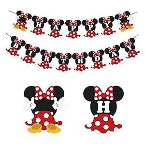Fiesta de cumpleaños de Minnie Mouse rojo y negro para fiesta de cumpleaños decoraciones de bienvenida al bebé para niña 2