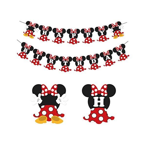 JOYMEMO Fiesta de cumpleaños de Minnie Mouse Rojo y Negro para Fiesta de cumpleaños Decoraciones de Bienvenida al bebé… 1