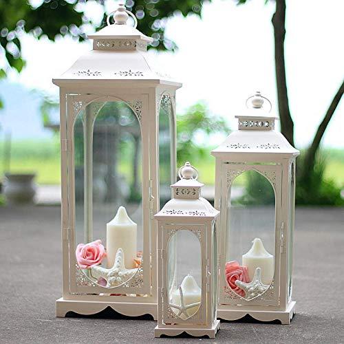 HNLHLY houder voor kaarsen theelichthouder ijzer winddicht kaars lantaarn buiten glas kaarsenhouder tuin kerst erf huis bruiloft Blanc 18x18x51cm