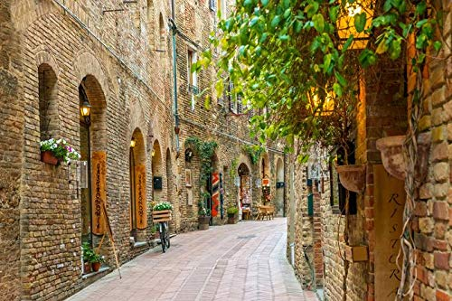 Tuscany, Italy - Italian Alley in Old Town San Gimignano A-9003177 (12x18 Art Print, Wall Decor Travel Poster)
