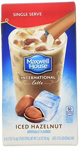 Maxwell House International Cafe Iced Latte Cafe-Style Beverage Mix, Single Serve Packets, Hazelnut, 6 e .57 oz