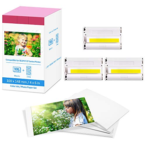Fimax Compatible Papel Fotográfico Selphy KP-108in Recambio para Canon Selphy CP1300 CP1200 CP910 CP810, Cartucho Tinta Canon×3,108 Hojas de Papel Fotográfic