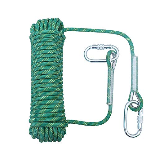 orgphys Rock Climbing Rope 10mm  32 Feet Outdoor Safety High Strength Rappelling Rope for Hiking Mountaineering Training Rescue Fire Escape Green