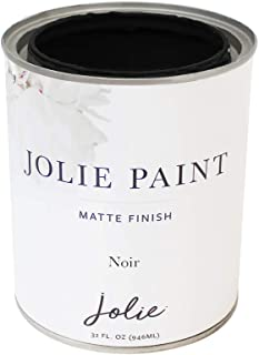 Jolie Paint - Matte Finish Paint for Furniture, cabinets, Floors, Walls, Home Decor and Accessories - Water-Based, Non-Toxic - Noir - 32 oz (Quart)