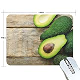 BlueViper Fresh Green Avocado On The Wooden Mouse Pad Smooth Surface Gaming Pad Thick Non-Slip Rubber Base Colorful Cute Design Art Artist Painting Unique Novelty Gift for School Office Game