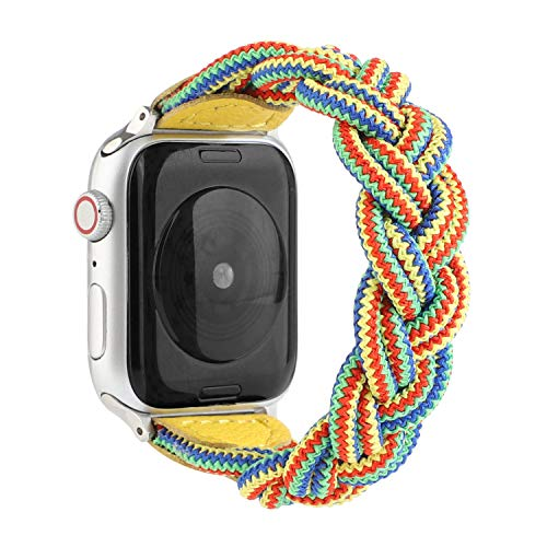 Sufderny Braided Stretchy Nylon Loop Bands Compatible with Apple Watch Elastic Plaits Strap Wristband 40mm 38mm Series 6 5 4 3 2 1 SE, Camouflage Yellow