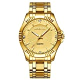 Gold Stainless Steel IP Plated Men's Business Wrist Watches for Male with Crystals