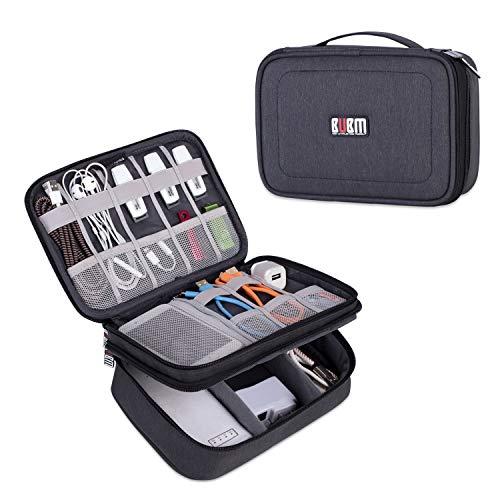 BUBM Mehrfachfunktion Kabelorganiser Tasche Reisetasche mit Doppelschichten für Elektronische Zubehöre wie Netzteil, Maus & USB Stricks (Mittel, Schwarz)