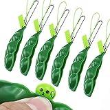 BlueXP 6 Piezas llaveros Squeeze-a-Bean con Colgantes de Juguete Fidget Toys para Niños y Adultos llavero Colgante de Cadena para Teléfono Móvil