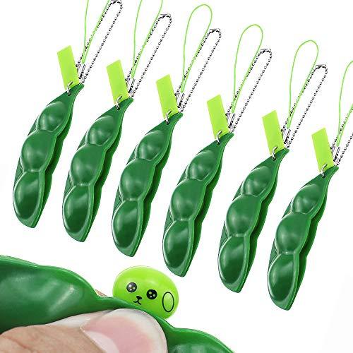 BlueXP 6 Stück Squeeze Toys Squeeze-a-Bean Drücken eine Bohne Böhnchen Anhänger Sojabohne Schlüsselanhänger Anhänger Handykette Erbsen Reduziert Angst und Stress