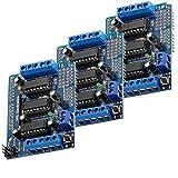 AZDelivery 3 x L293D Shield Conductor de Motor de 4 Canales y de Motor Paso a Paso para Arduino