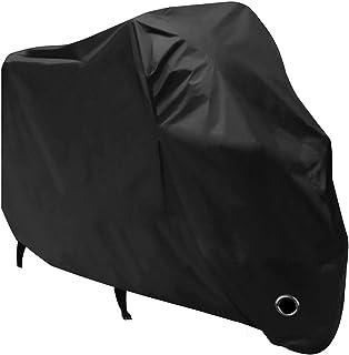 バイクカバー バイク車体カバー 丈夫な厚手生地 風飛び防止 防水 防塵 耐熱 鍵穴盗難防止 Mサイズ 小型バイク スクーターカバー 後輪にバックルベルト付き 収納袋付き ブラック (210Dオックスの生地)