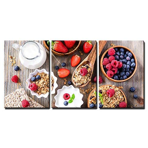 wall26 - 3 Piece Canvas Wall Art - Breakfast with Muesli, Berries, Crisp Bread and Yogurt - Modern Home Art Stretched and Framed Ready to Hang - 24