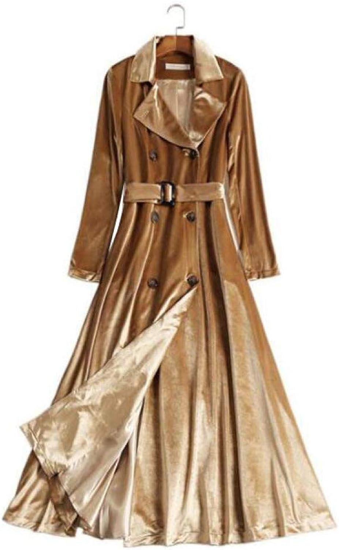 DFUCF Women's gold Velvet Windbreaker Slim Fit Coat Long Sleeve Coat Winter