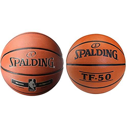 Spalding NBA Silver Outdoor 83-569Z Balón De Baloncesto, Unisex, Naranja + Tf50 Outdoor Sz.7 Balón De Baloncesto, Unisex Adulto, Naranja
