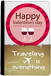 Pink Happy Valentine's Day Glasses Traveling quato Passport Holder Travel Wallet Cover Case Card Purse