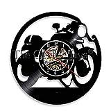 szhao Reloj de Pared con Disco de Vinilo Antiguo para Ventilador de Motocicleta, Tienda de reparación de Motocicletas, Arte de Pared, decoración de Club de Motociclistas, Reloj de Motocicleta, Reloj