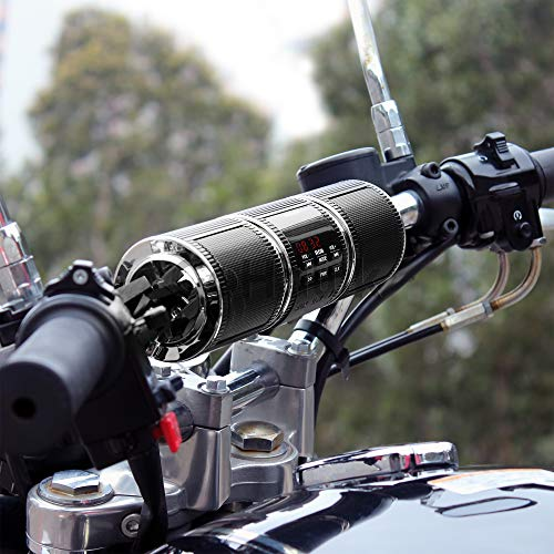 GoHawk RD8 Waterproof Bluetooth Motorcycle Stereo Speakers 7/8-1.25 in. Handlebar Mount MP3 Music Player Audio Amplifier System Scooter Bike ATV UTV Jet Ski, AUX in, USB, microSD, FM Radio