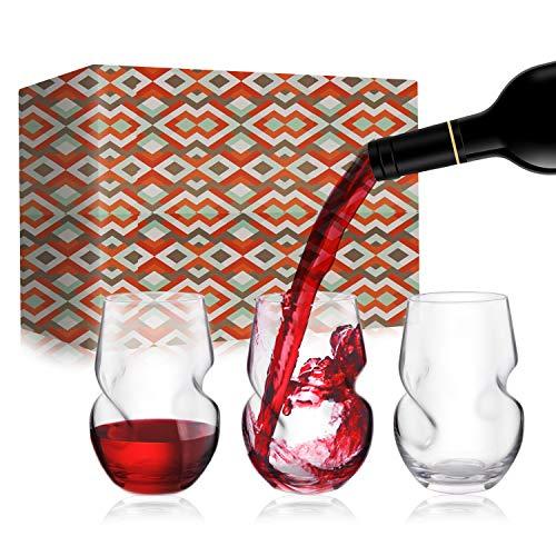 Copa de vino sin tallo, 370 ml / 13 oz, juego de 3 copas de vino sin tallo con hendiduras para los dedos, caja de regalo portátil, vaso de vino sin tallo para Aniversario/Boda/Cumpleaños/Fiesta